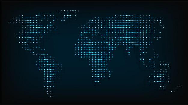 Mappa di mondo isolata dall'illustrazione astratta delle luci notturne.