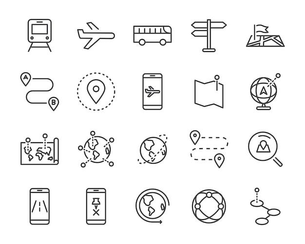Set di icone linea mappa mondo