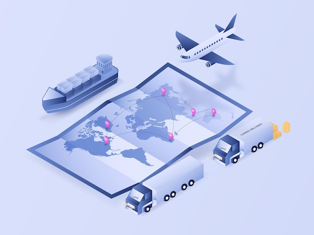 Processo di tracciamento logistico della mappa del mondo tramite camion aereo e vettore di illustrazione isometrica 3d di spedizione