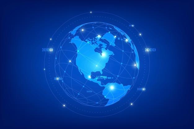 Composizione della linea di punti della mappa mondiale che rappresenta la connessione di rete globale.