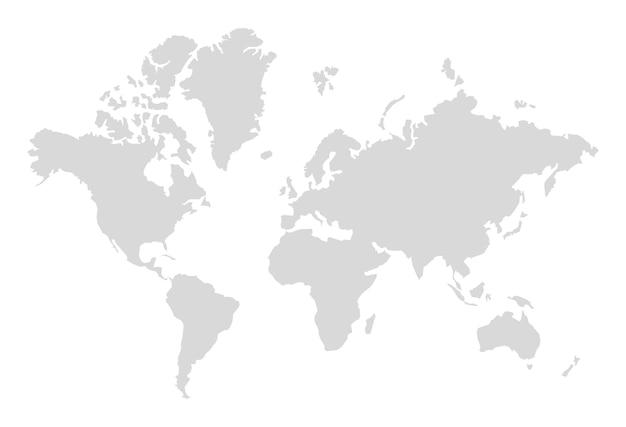 Sagoma di mappa del mondo. mappa grigia semplice digitale in stile piatto. terra realistica dell'illustrazione di vettore isolata su fondo bianco