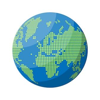 Silhouette della mappa del mondo. globo a pois.