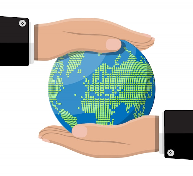 Silhouette della mappa del mondo. globo in mano