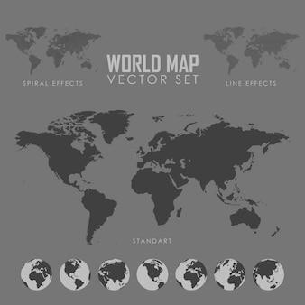 Insieme dell'illustrazione di vettore della mappa del mondo eps 10