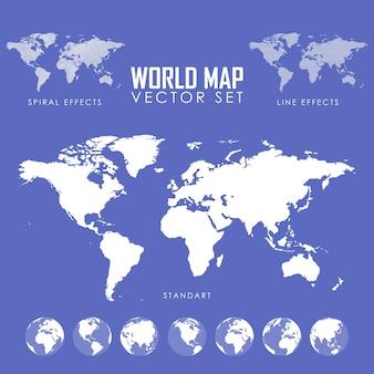 Insieme dell'illustrazione di vettore della mappa del mondo
