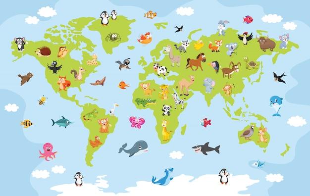 Mappa del mondo con animali cartone animato