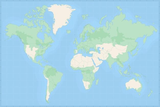 Mappa del mondo con i paesi. mappa del mondo di vettore politico. illustrazione vettoriale.