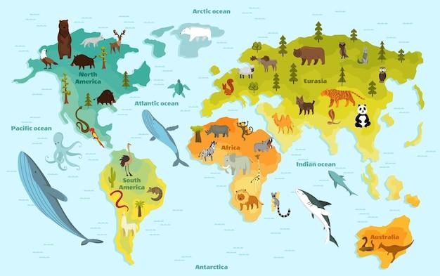 Mappa del mondo con diversi animali