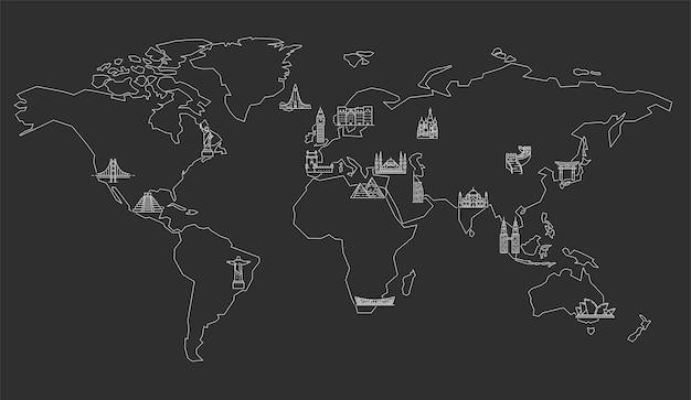 Mappa del mondo con monumenti famosi. illustrazione di arte al tratto