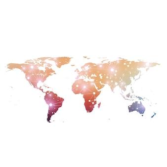 Mappa del mondo con il concetto di rete tecnologica globale. visualizzazione dei dati digitali. plesso delle linee.