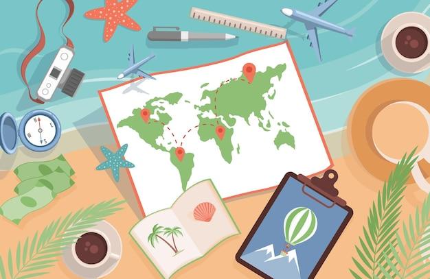 Mappa del mondo con punti di localizzazione e articoli da viaggio vettore piatto