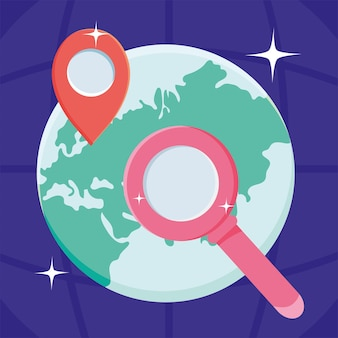 Mappa del mondo con lente d'ingrandimento