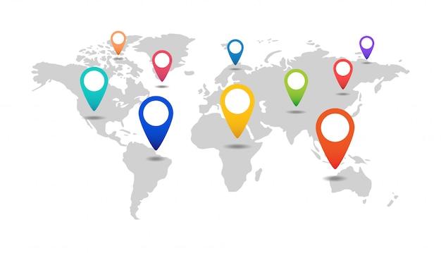 Mappa del mondo con marcatori.
