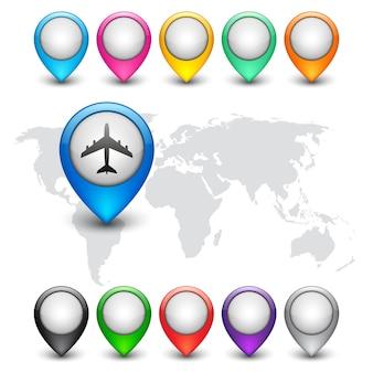 Mappa del mondo con puntatori pin multicolori isolati su bianco. illustrazione