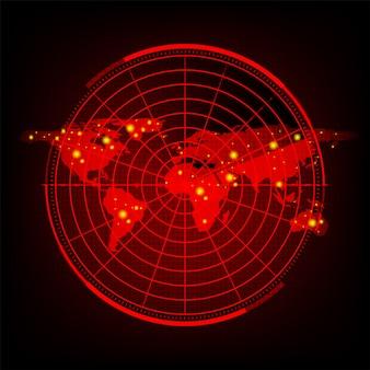 Mappa del mondo con schermo radar, radar rosso digitale