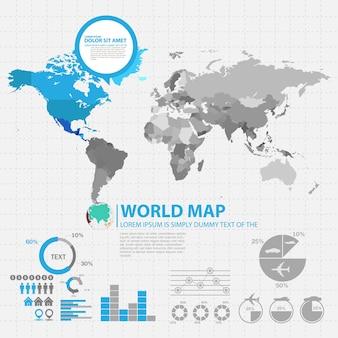 Mappa del mondo con modello di progettazione infografica paesi selezionati