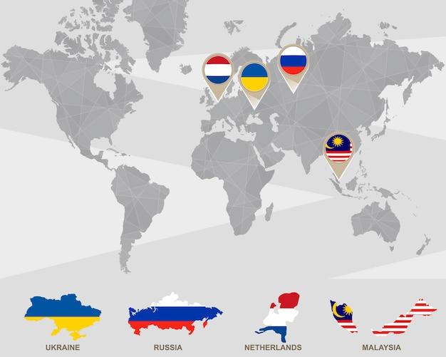 Mappa del mondo con puntatori di ucraina, russia, paesi bassi, malesia. incidente aereo. illustrazione di vettore.