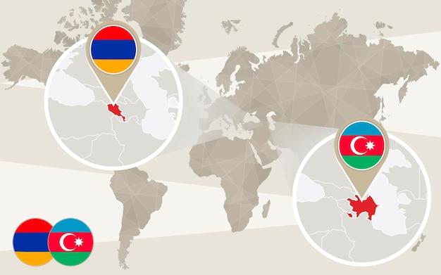 Zoom della mappa del mondo sull'azerbaigian, armenia. conflitto, guerra del nagorno-karabakh. mappa dell'azerbaigian con bandiera. mappa dell'armenia con bandiera. illustrazione di vettore.