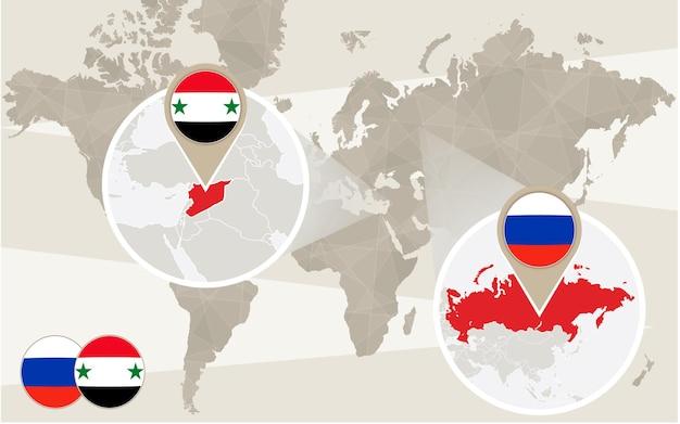 Zoom della mappa del mondo sulla siria, russia. conflitto. illustrazione di vettore.