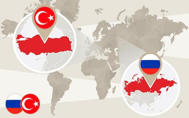 Zoom della mappa del mondo sulla turchia, russia. conflitto. mappa della turchia con bandiera. mappa della russia con bandiera. illustrazione di vettore.