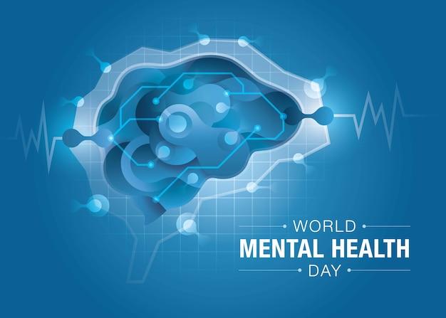 Giornata mondiale della salute mentale, cervello e salute mentale, cervello encefalografico, forma astratta di liquido fluido sulla forma del cervello