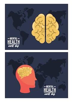 Campagna per la giornata mondiale della salute mentale con profilo del cervello e mappe della terra