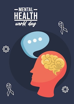 Campagna per la giornata mondiale della salute mentale con profilo cerebrale e fumetto