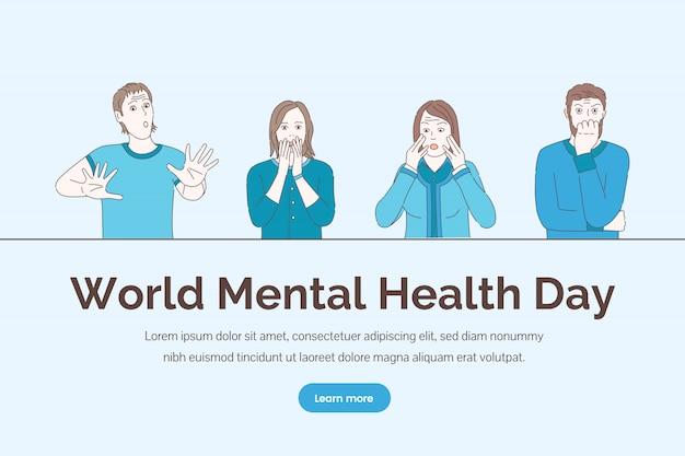 Concetto di giornata mondiale della salute mentale. consulenza psicologica, disturbi emotivi, illustrazione di terapia mentale.