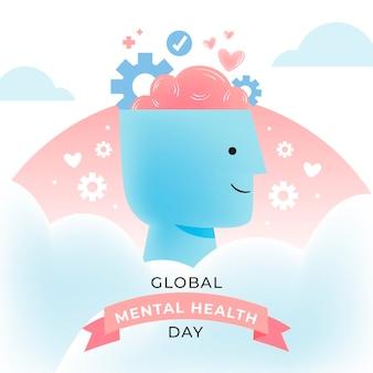 Stile disegnato a mano di giornata mondiale della salute mentale