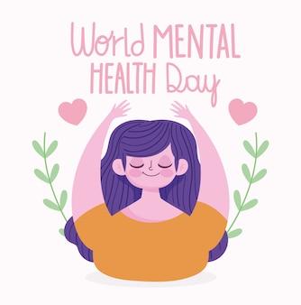 Giornata mondiale della salute mentale, donna sorridente cuori amore rami foglie cartone animato