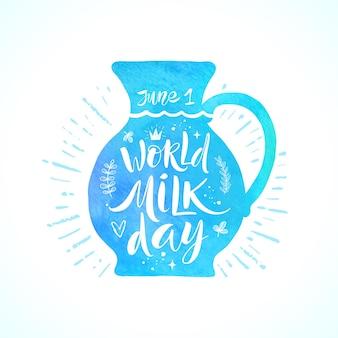 Illustrazione di giornata mondiale del latte brocca con elementi di design disegnati a mano e scritte