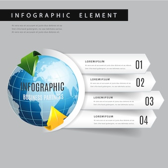 Infografica moderna freccia mondo.