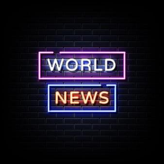 Testo di stile di insegne al neon di notizie dal mondo