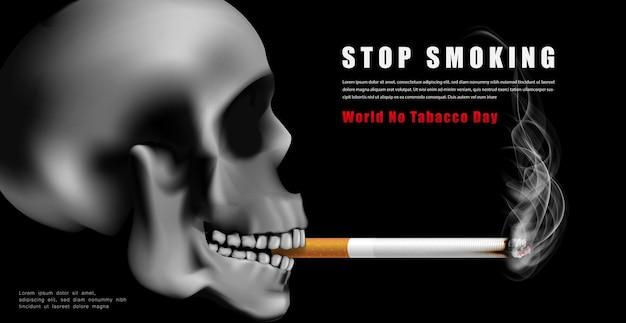 Illustrazione della campagna per la giornata mondiale senza tabacco nessuna sigaretta per la salute del cranio spaventoso che fuma in sfondo nero scuro dark