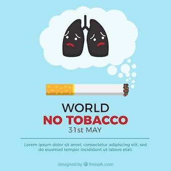 Mondo nessun sfondo di tabacco con i polmoni tristi