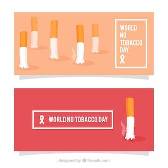 Mondiale senza tabacco all'insegna giorno con mozziconi cigarrette
