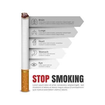 Giornata mondiale senza tabacco, infografica di sigarette