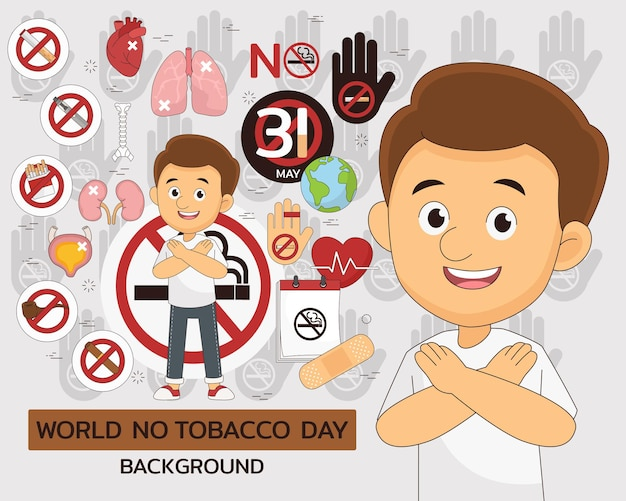 Insieme di elementi della giornata mondiale senza tabacco