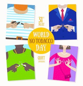 Illustrazione della giornata mondiale senza tabacco persone diverse smettono di fumare