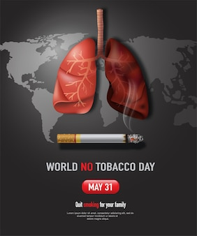 Il design del poster della giornata mondiale senza tabacco smetti di fumare per salvare i tuoi polmoni
