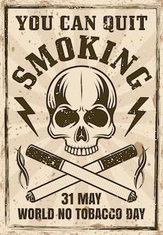 Manifesto dell'annata della giornata mondiale senza tabacco con teschio e illustrazione di due sigarette incrociate
