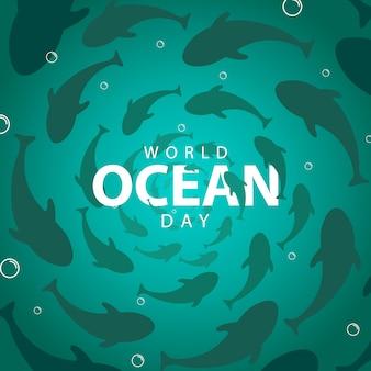 Concetto dell'insegna di giornata mondiale dell'oceano con fondo di pesce