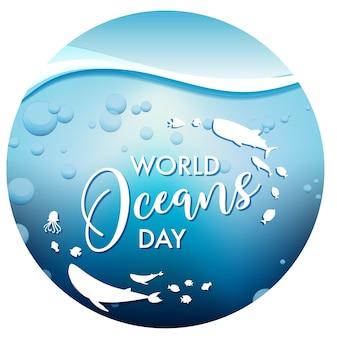 Bandiera della giornata mondiale degli oceani isolata