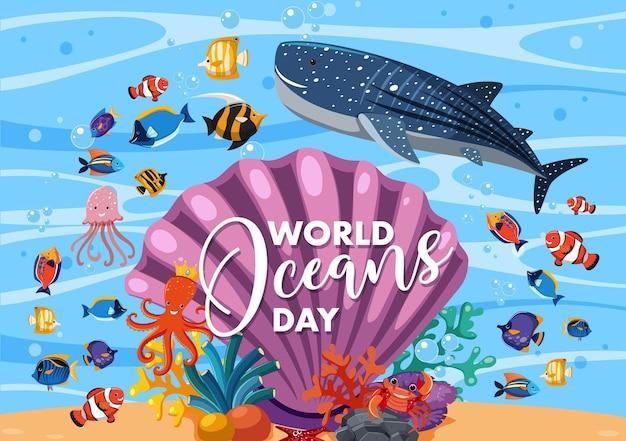 Banner della giornata mondiale degli oceani con molti animali marini diversi