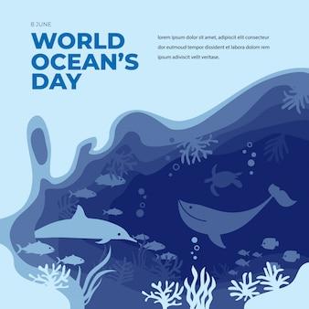Giornata mondiale dell'oceano piatto stile papercut con delfino, balena e scogliera