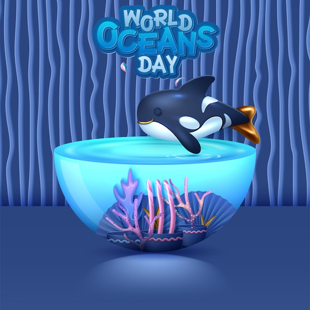 Concetto di immagine di giornata mondiale degli oceani 3d. ambiente naturale. illustrazione