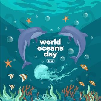 Giornata mondiale degli oceani 8 giugno salva il nostro oceano delfini e pesci stavano nuotando sott'acqua con un bellissimo sfondo di coralli e alghe illustrazione vettoriale