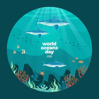 Giornata mondiale degli oceani 8 giugno salva il nostro oceano squali e pesci stavano nuotando sott'acqua con un bellissimo sfondo di coralli e alghe illustrazione vettoriale vector