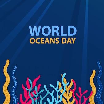 Progettazione del fondo di giornata mondiale degli oceani