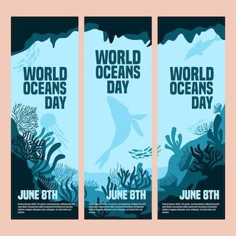 Insieme della bandiera di giornata mondiale degli oceani